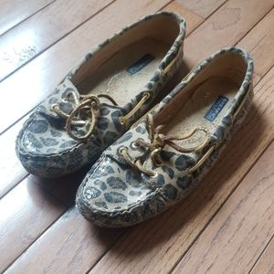 Sperry sequin leopard cheetah moccasin top siders